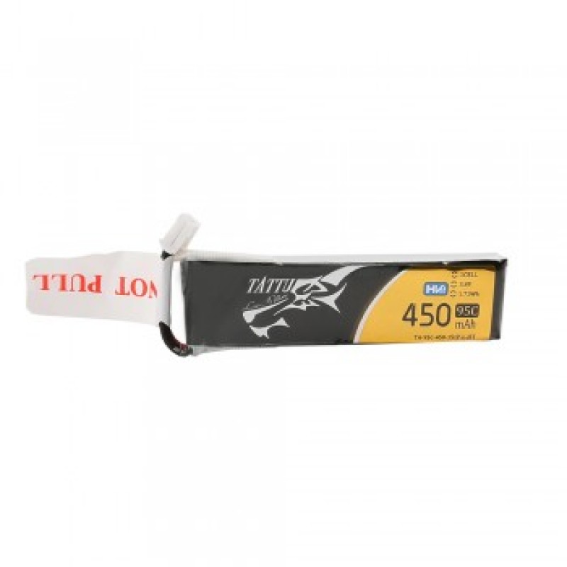 Tattu 450mAh 3.8V HV 95C 1S1P Lipo Battery Pack with JST-PHR Plug for Tiny Hawk - Long Pack