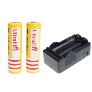 UltraFire 18650 High Capacity 3.7V 5000mAh Li-ion Rechargeable Battery with Charger - 2-Pack