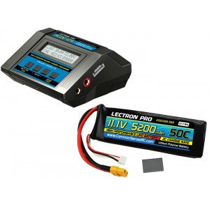 Lectron Pro Power Pack #05 - ACDC-10A Charger + 1 x 11.1V 5200mah 50C w/ XT60 + Gray Adapter (#3S5200-50X)