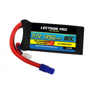 Lectron Pro 11.1V 1350mAh 80C Lipo Battery with EC3 Connector for FPV Racers