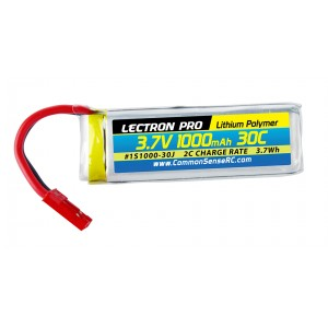 Lectron Pro 3.7V 1000mAh 30C Lipo Battery with JST Connector for Dromida Vista