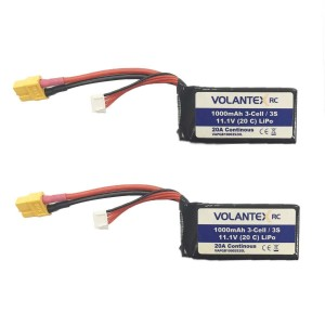 Exhobby  2pcs 11.1V-1000MAH-Lipo-XT60 Plug Battery for RC Boat 797-3