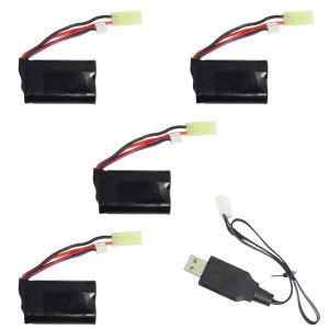Exhobby 4pcs 7.4V 850mAh Lilon Rechargeable Battery, 1pcs Lithium Battery USB Charger-2S for RC Truck 785-1, 785-2, 785-3
