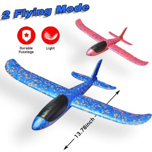 "Exhobby 2pcs 13.78"" RC Airplane Manual Throwing Glider (Blue and Red)"