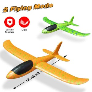 "Exhobby 2pcs 13.78"" RC Airplane Manual Throwing Glider (Green and Orange)"