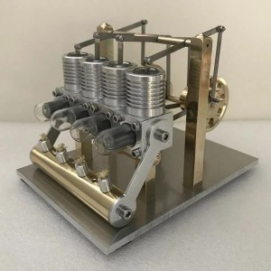 Enginediy Stirling Engine Kit Domineering All Metal 4 Cylinder Stirling Engine Model