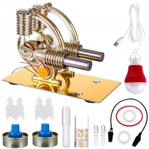 Enginediy Stirling Engine L-Shape Two Cylinder Stirling Engine External Combustion Engine with Big Bulb
