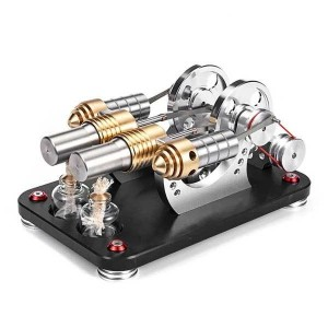 Enginediy Stirling Engine Model 2 Cylinder Stirling Engine Generator with LED