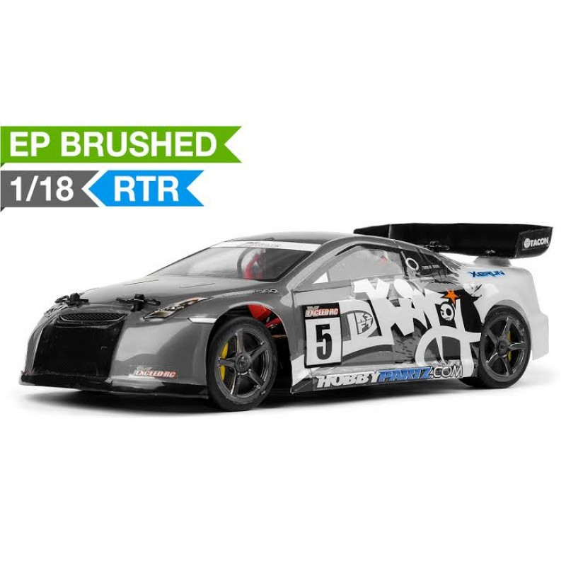 Exceed RC 1/18 Mad Pulse Brushed Race Drift Car Ready to Run (Grey) RC Remote Control Radio Car