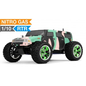 Exceed Hammer Monster Truck Radio 1/10 Nitro Gas Powered .18 Engine 2.4Ghz - Camo Green - RTR