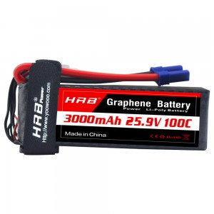 HRB GRAPHENE 7S 3000 25.9V 100C LIPO BATTERY EC5