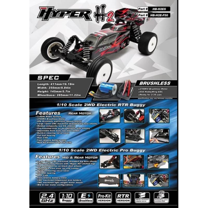 Hobao Hyper H2es 2wd 1 10 Buggy Eletric Pro Kit