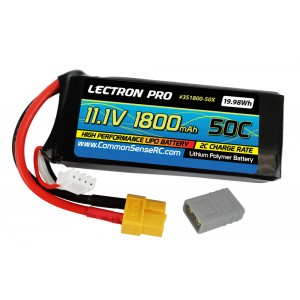 Lectron Pro 11.1V 1800mAh 50C Lipo Battery with XT60 Connector + CSRC adapter for XT60 batteries to popular RC vehicles