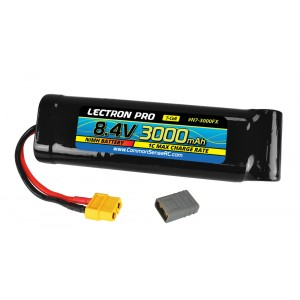 Lectron Pro NiMH 8.4V (7-cell) 3000mAh Flat Pack with XT60 Connector + CSRC adapter for XT60 batteries to popular RC vehicles