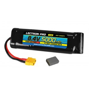 Lectron Pro NiMH 8.4V (7-cell) 5000mAh Flat Pack with XT60 Connector + CSRC adapter for XT60 batteries to popular RC vehicles