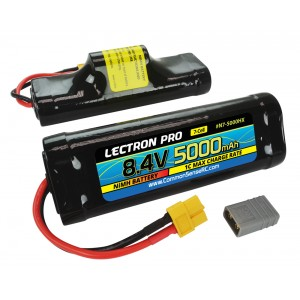 Lectron Pro NiMH 8.4V (7-cell) 5000mAh Hump Pack with XT60 Connector + CSRC adapter for XT60 batteries to popular RC vehicles