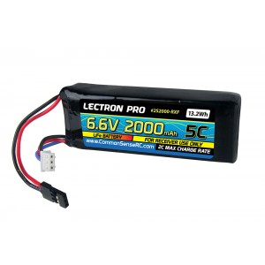 Lectron Pro 6.6V 2000mAh 5C LiFe Receiver Flat Pack Battery with Servo Connector
