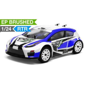 MicroX Racing 1/24 Micro Scale Rally Car Ready to Run 2.4ghz (Blue) RC Remote Control Radio Car