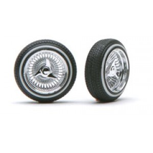 "Pegasus 1/24 ""D"" Rims W/Tires Chrome"