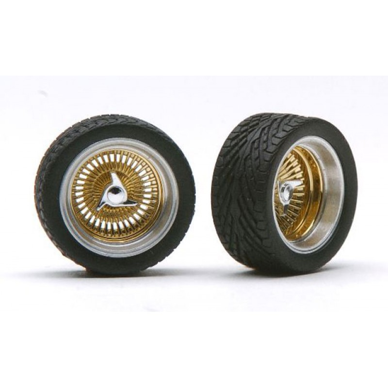 """Pegasus 1/24 """"Wide D's"""" Rims W/Tires Gold"""
