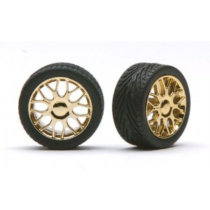 "Pegasus 1/24 ""Beemers"" Rims W/Tires Gold"