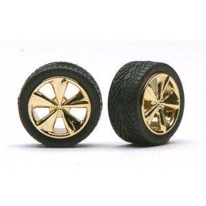 """Pegasus 1/24 """"Tiburon's"""" Rims W/Tires Gold"""
