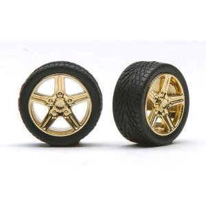"""Pegasus 1/24 """"Belagio's"""" Rims W/Tires Gold"""