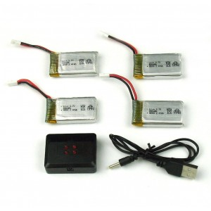 Syma X5C X5C X5SW UDIRCU42W 4 PC 650mAh 3.7V Lipo Batteries with 4 in 1 Charger