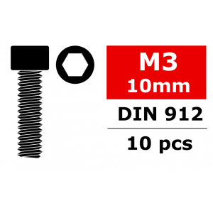 Team Corally - Steel Screws M3 x 10mm - Hex Socket Head - 10 pcs