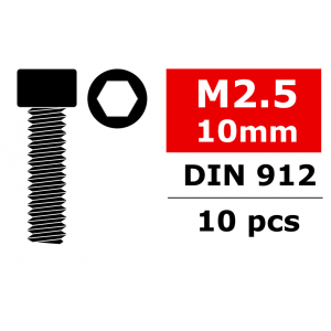 Team Corally - Steel Screws M2.5 x 10mm - Hex Socket Head - 10 pcs