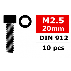 Team Corally - Steel Screws M2.5 x 20mm - Hex Socket Head - 10 pcs