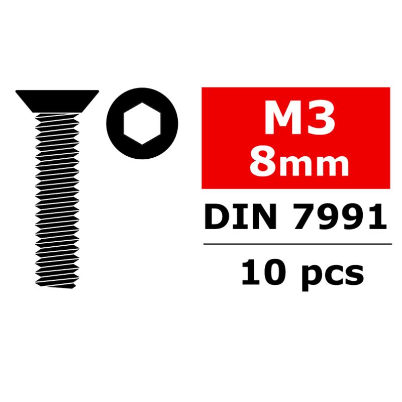 Team Corally - Steel Screws M3 x 8mm - Hex Flat Head - 10 pcs