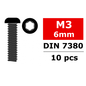 Team Corally - Steel Screws M3 x 6mm - Hex Button Head - 10 pcs