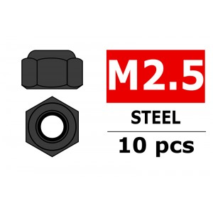 Team Corally - Steel Nylstop Nut M2.5 - Black Coated - 10 pcs