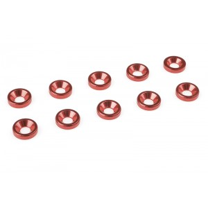 Team Corally - Aluminium Washer - for M3 Flat Head Screws - OD=8mm - Red - 10 pcs