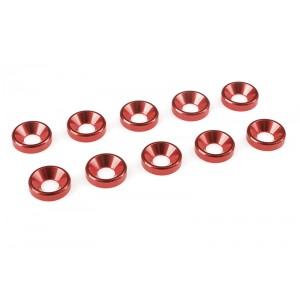 Team Corally - Aluminium Washer - for M4 Flat Head Screws - OD=10mm - Red - 10 pcs