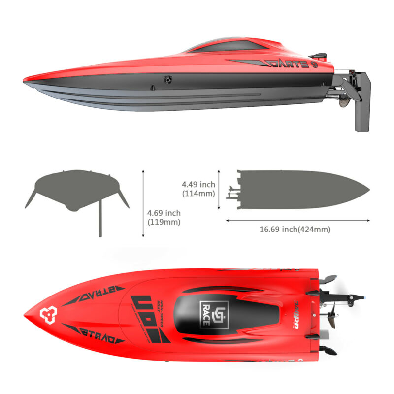 """Udirc 009 17"""" High Speed Remote Control Electric Boat 2.4GHz 20mph"""