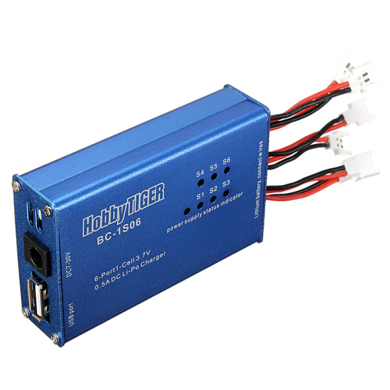 HobbyTiger BC-1S06 Lipo 6 Port Battery Charger For Syma, Walkera, Hubsan, WLToys and more
